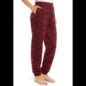 Socialite Burgundy Tiger Cozy Lounge Jogger Pants